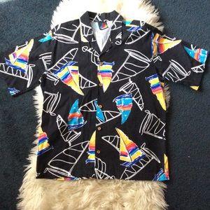 Vintage rainbow sailboat button down shirt unique